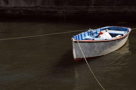 moored: Small fishing rowboat moored