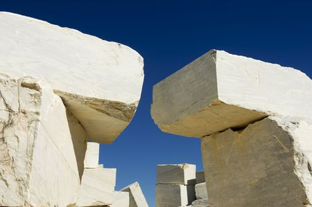 Marble blocks stacked near a marble quarry, Alentejo, Portugal