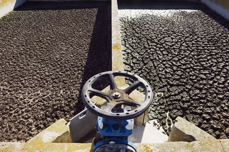 Small rural wastewater sanitation plant with sedimentation tanks Stock Photo - 2631537