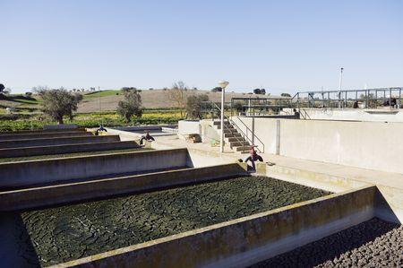 sedimentation: Small rural wastewater sanitation plant with sedimentation tanks