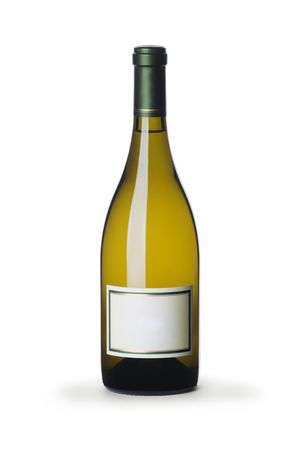 white wine bottle: White wine bottle with blank label isolated on white  Stock Photo