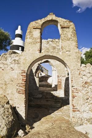 triangulation: Triangulation station over a ruined building in Alentejo, Portugal