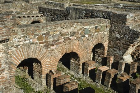 Ruins of the roman villa of Pisoes near Beja, Alentejo, Portugal Standard-Bild