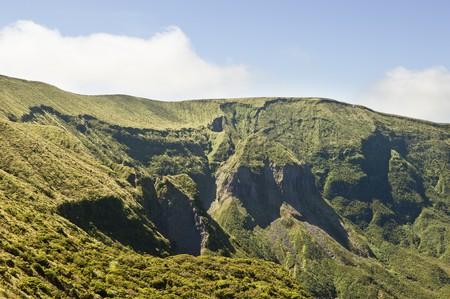 steep cliffs: Steep cliffs of Caldeira volcano in Faial island,  Azores, Portugal