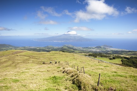 hedged: Landscape of  Faial island with Pico in the background, Azores, Portugal