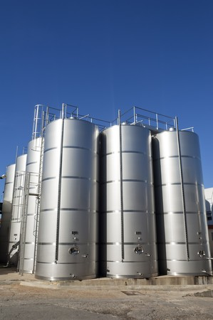 Stainless steel tanks in a modern winery, Alentejo, Portugal