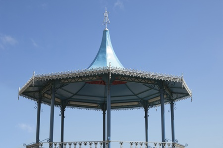 bandstand: Blue 19th century bandstand roof detail Stock Photo