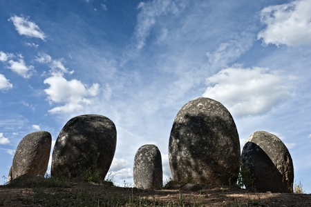 stone age: Menhirs in megalithic monument of Cromelech dos Almendres - Evora -Portugal Stock Photo