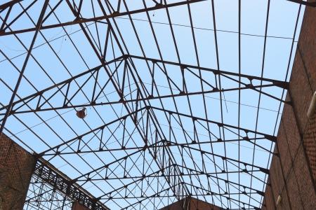 roof framework: Roof framework of an hangar in abandoned mine Stock Photo