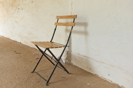 folding chair: Old style folding chair, slatted and metal