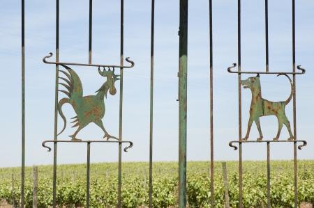 rejas de hierro: Puerta de hierro forjado decorado con un gallo y un perro, Borba, Alentejo, Portugal