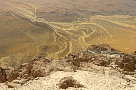 Detail of polluted riverbed of Mosteirao, downstream abandoned pyrite mine of S  Domingos , Mertola, Portugal