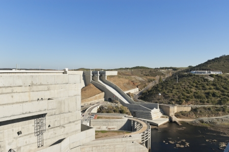 downstream: Overview of the downstream side of Alqueva dam in Guadiana river, Alentejo, Portugal