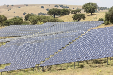 Serpa solar power plant with horizontal single axis tracking system, Alentejo, Portugal photo