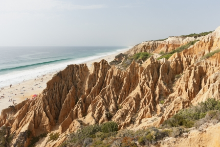coastal erosion: Sandstone cliffs in Gale beach, Comporta , Portugal