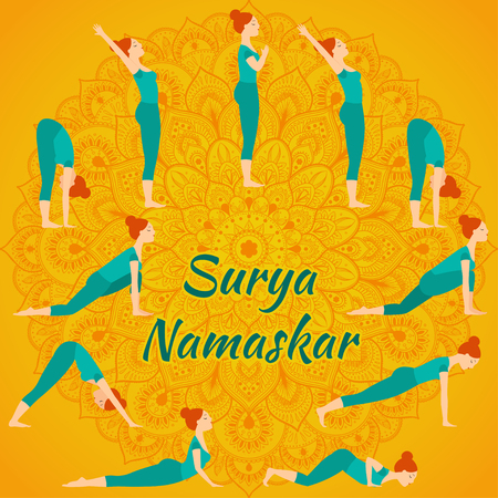 salutation: Surya Namaskar yoga complex sun salutation