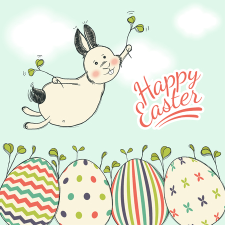 Beautiful Easter card with flying easter bunny on a blue sky background Illustration