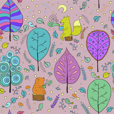 crescent: Cozy seamless woodland pattern