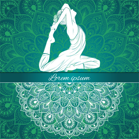 Beautiful woman in yoga pose on a ethnic background, hand-drawn, vector