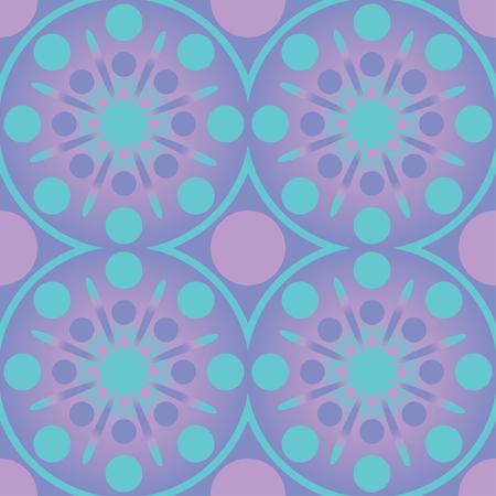 Abstract Geometric Circles Seamless Pattern. Vector wallpaper pink blue design