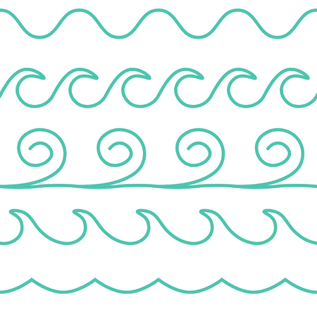 ocean wave: Vector turquoise line waves set on white background.
