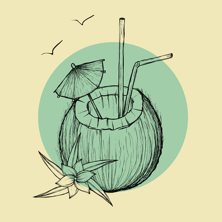 colada: Exotic coconut cocktail. Sketch illustration on rounded background.