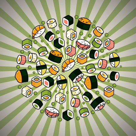 Big vector rounded sushi set  イラスト・ベクター素材