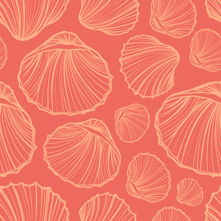 Seashells seamless pattern vector. Doodle colorful background. Vettoriali