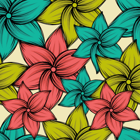 Seamless summer tropical background with exotic flowers, vector illustration.