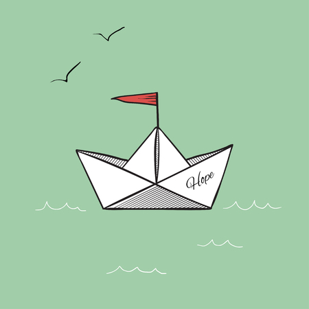 Origami paper ship hope on sea waves vector illustration
