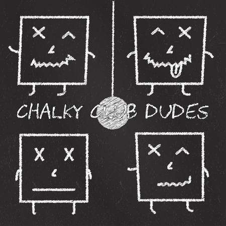 Set of chalk emoticons, blackboard backgound, emoji chalky club square dudes.
