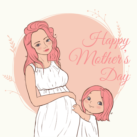 beautiful pregnant woman. happy mothers day. Vector illustration. Illustration