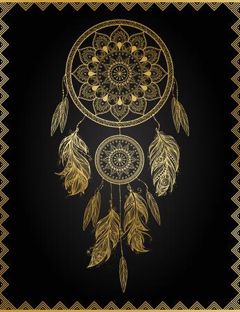 Golden dreamcatcher, vector illustration