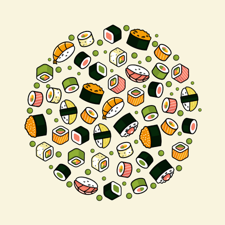 nori: Big vector rounded sushi set Illustration