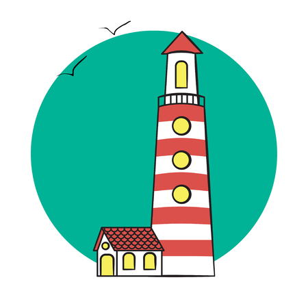vector illustration of lighthouse on the sea. lighthouse on rounded background.