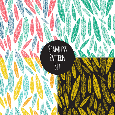 seamless pattern set with feather