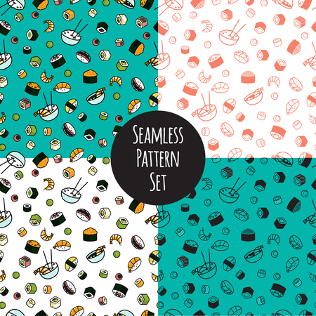 nori: Vector seamless sushi pattern set Illustration