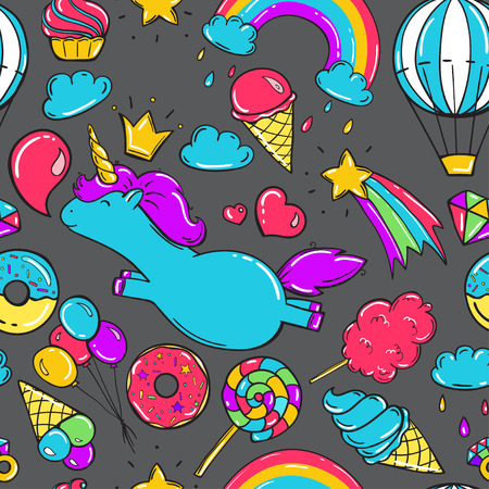 Seamless pattern with unicorns, donuts rainbow, icecream and other elements. Gray background