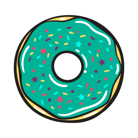 Vector modern flat geometric donut illustration.