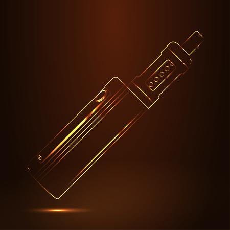 Vape shop luxury golden symbol. Illustration
