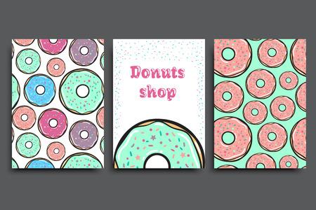 cupcake illustration: Sweet donuts card set. Vector illustration.