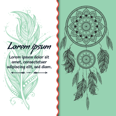 Card design. Dreamcatcher. Text place. Boho style. Vector art