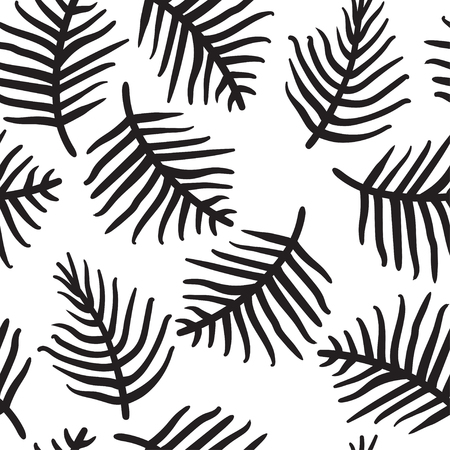 tropical palm or ferm leaves isolated on white. Seamless pattern. Vector illustration