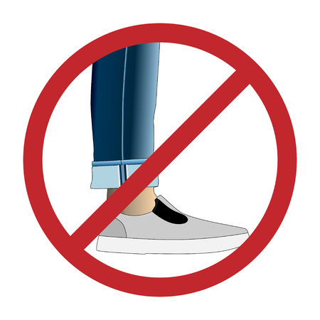 Hipsters not entry, prohibition sign, turn-ups not alowed, rolled up pants.