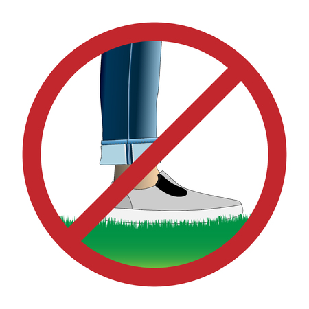 dont walk: Do not step on grass sign