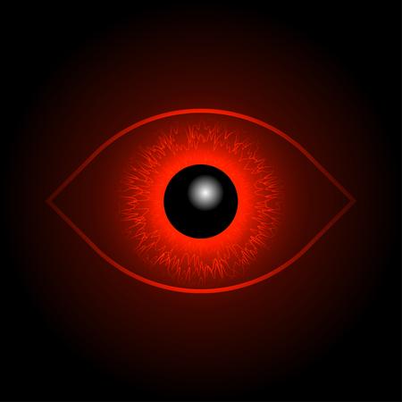 ojo de horus: Bola de ojos rojos Vectores