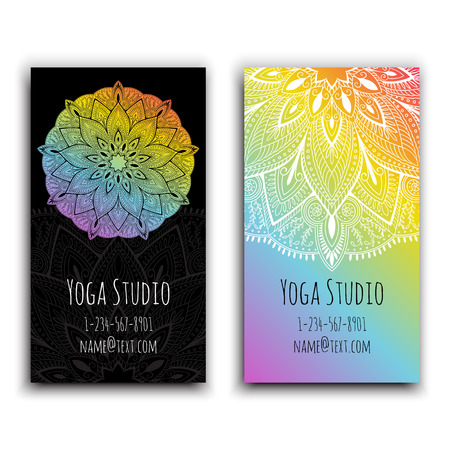 Cards template for yoga studio. Isolated vector editable pattern with front and back side of flyer. Vectores