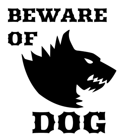 growling: Beware of dog sign. Angry dog. Silhouette of a snarling dog. Vector flat illustration. Direwolf