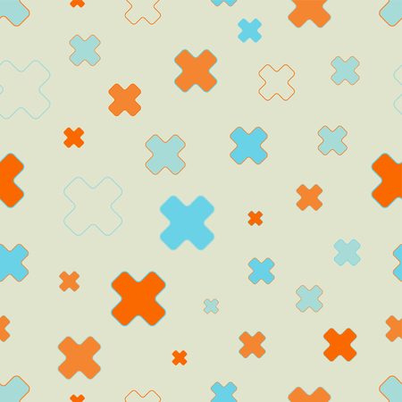 scattering: Vector seamless pattern of cross signs. Scattered and randomly sized colorful shapes.