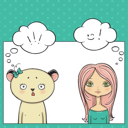 hair mask: Beautyful girl and panda, Pop art thinking bubble. Illustration